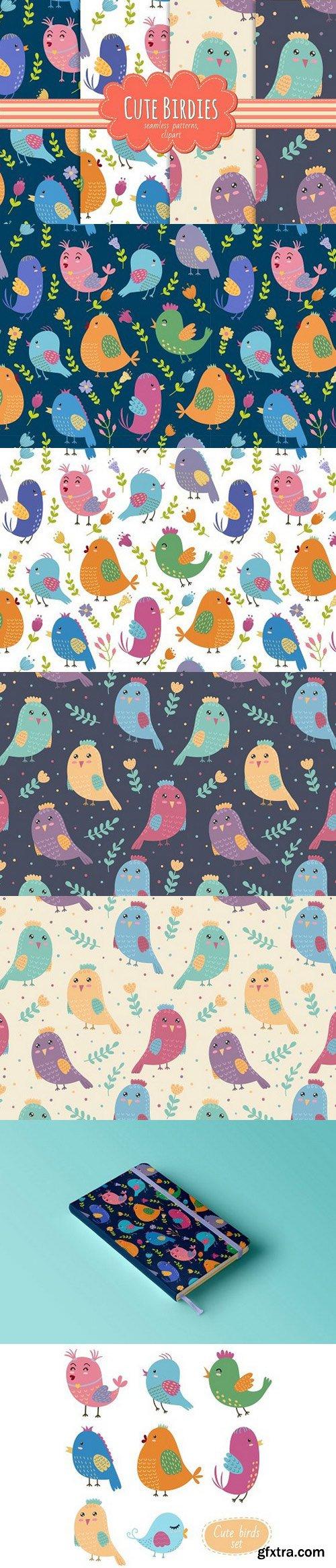 Cute Birdies patterns&clipart