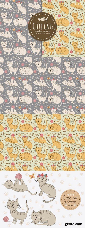 Cute cats seamless patterns