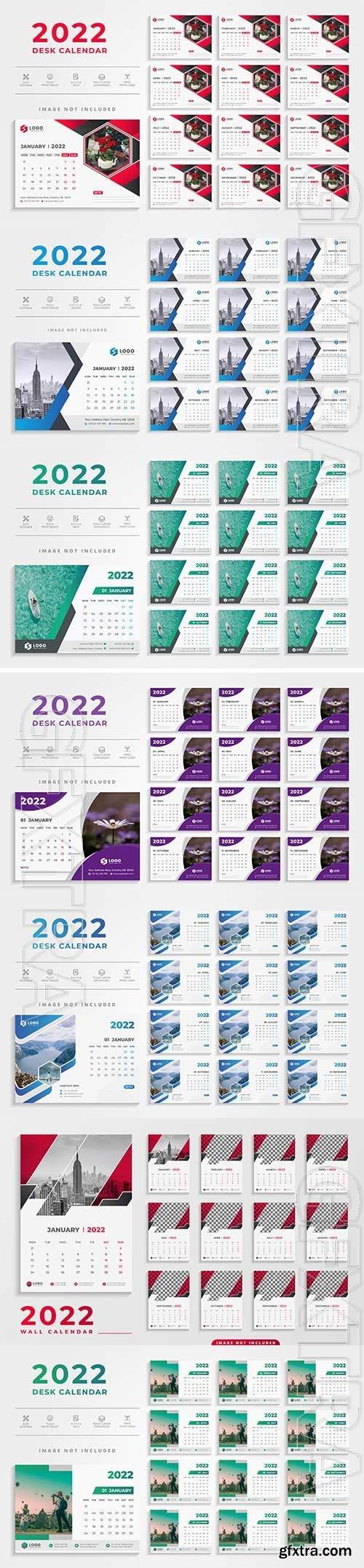 Modern 2022 desk calendar template premium vector