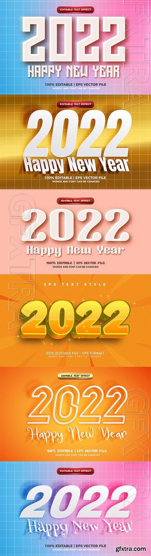 Happy new year 2022 modern embossed 3d editable text effect vector