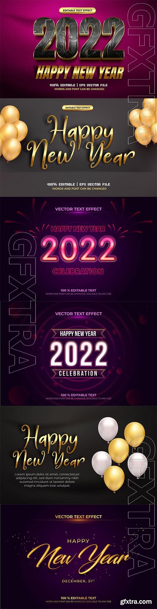 Happy new year 2022 luxury black gold 3d editable text effect premium vector