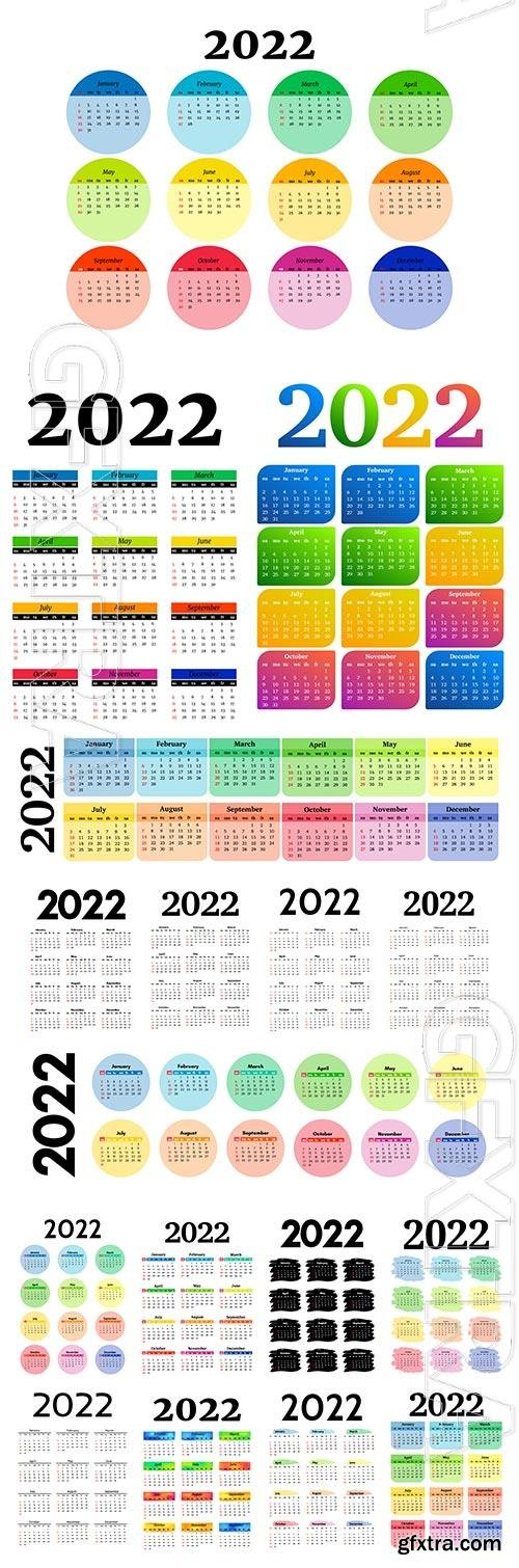 Calendars for 2022 vector design