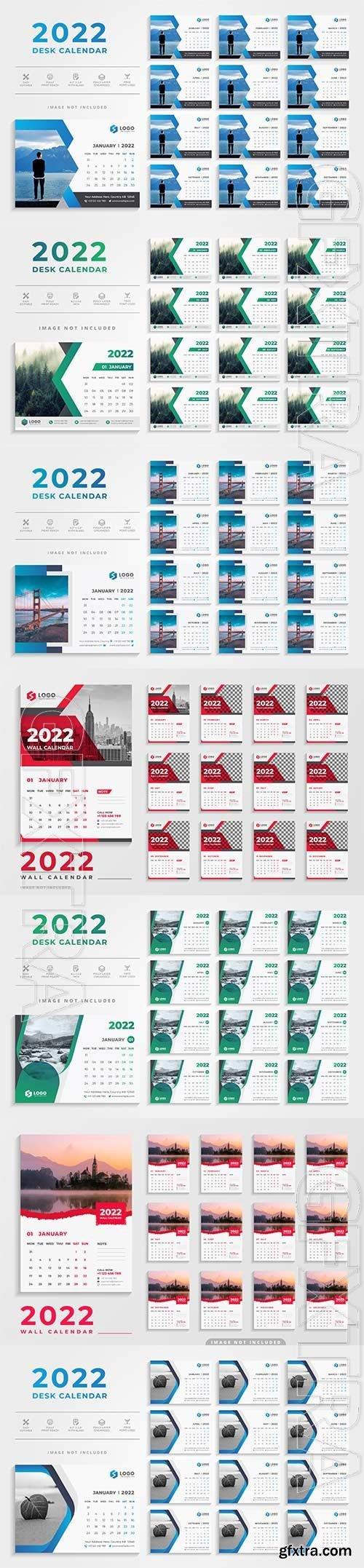 2022 desk calendar template premium vector