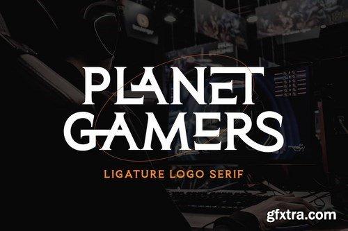 Planet Gamers - Ligature Logo Serif