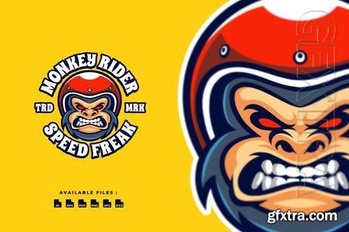 Monkey Rider Mascot Logo