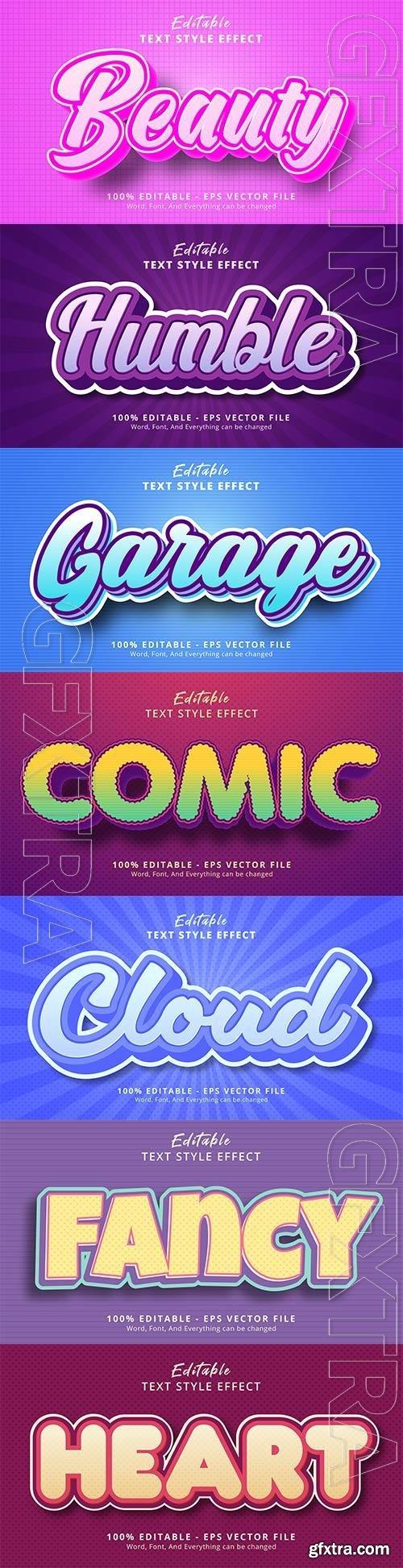 Set 3d editable text style effect vector vol 162