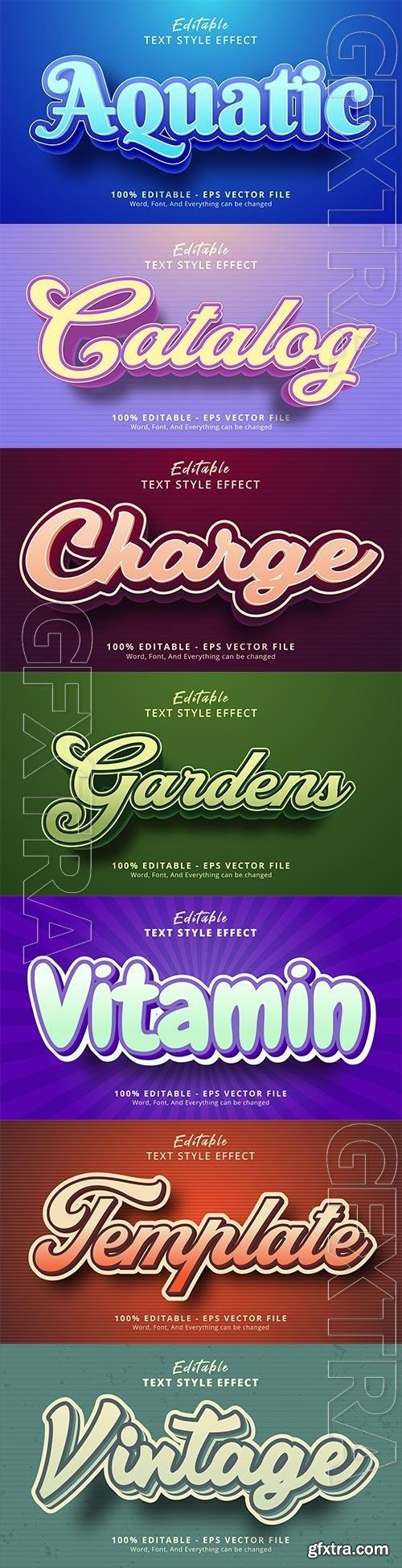 Set 3d editable text style effect vector vol 161