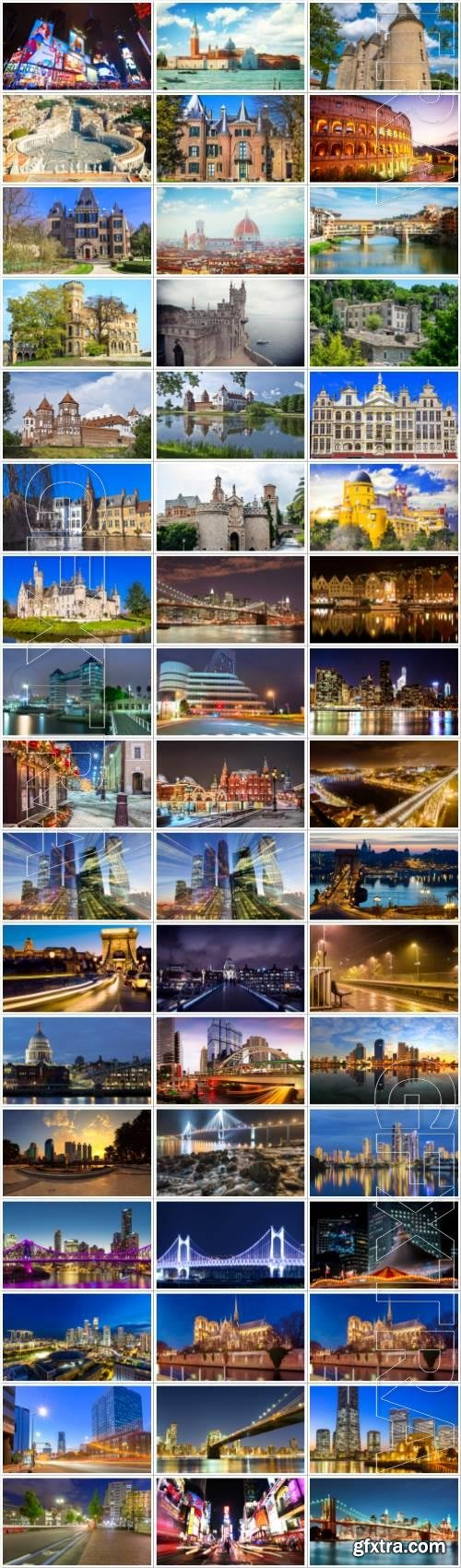 Cities and architecture large selection of stock photos