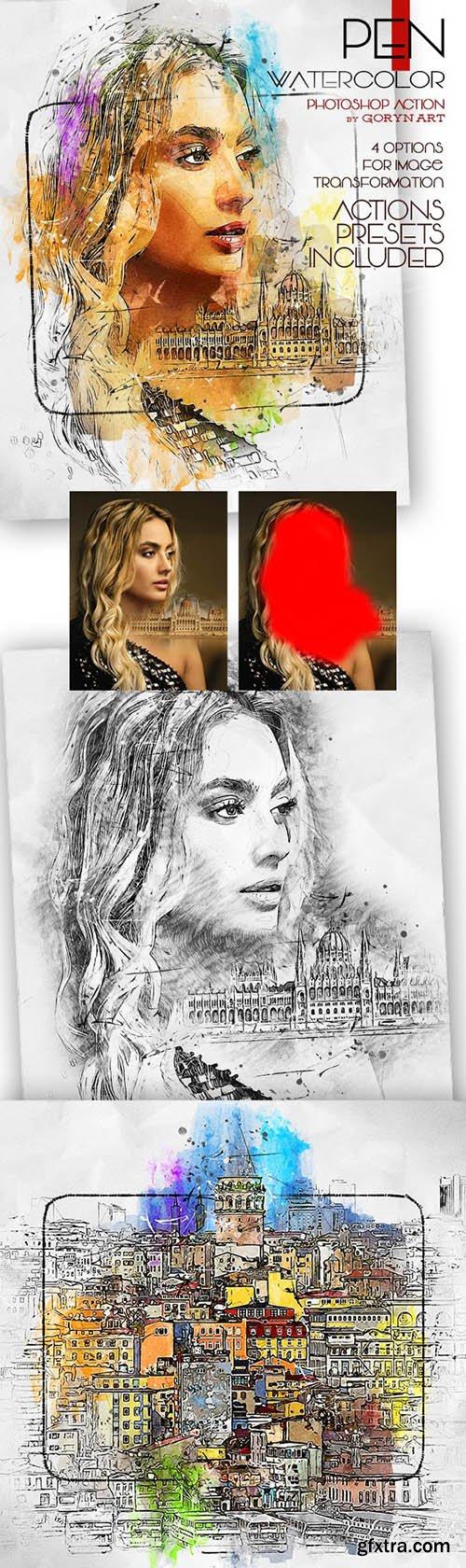 GraphicRiver - Pen Watercolor Photoshop Action 32930735