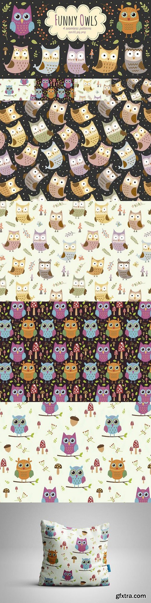 Funny Owls 4 seamless patterns