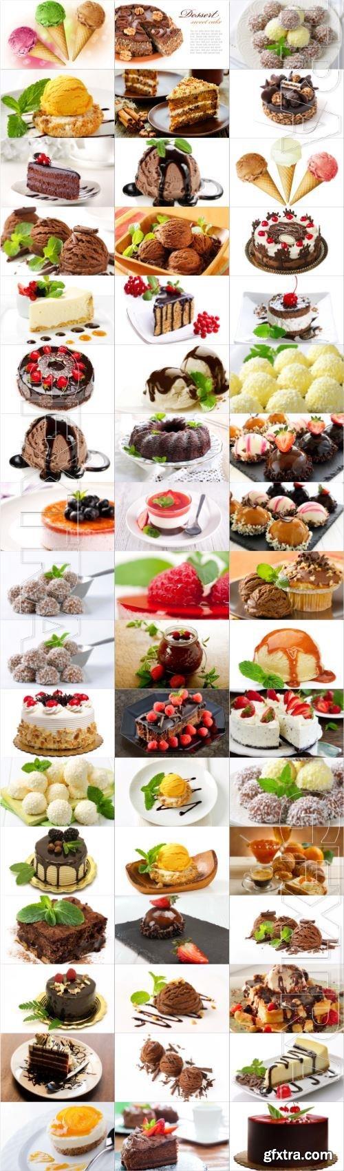 Desserts large selection stock photos