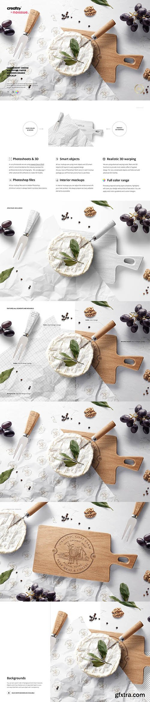 CreativeMarket - Wrapping Paper Wooden Board Mockup 6389448
