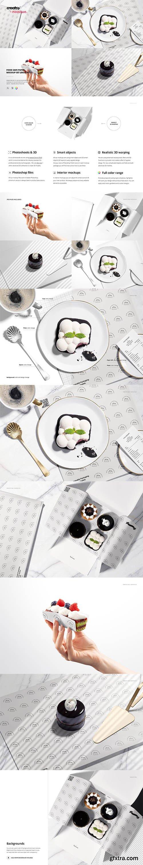 CreativeMarket - Food Safe Paper Mockup Set /desserts 6417661