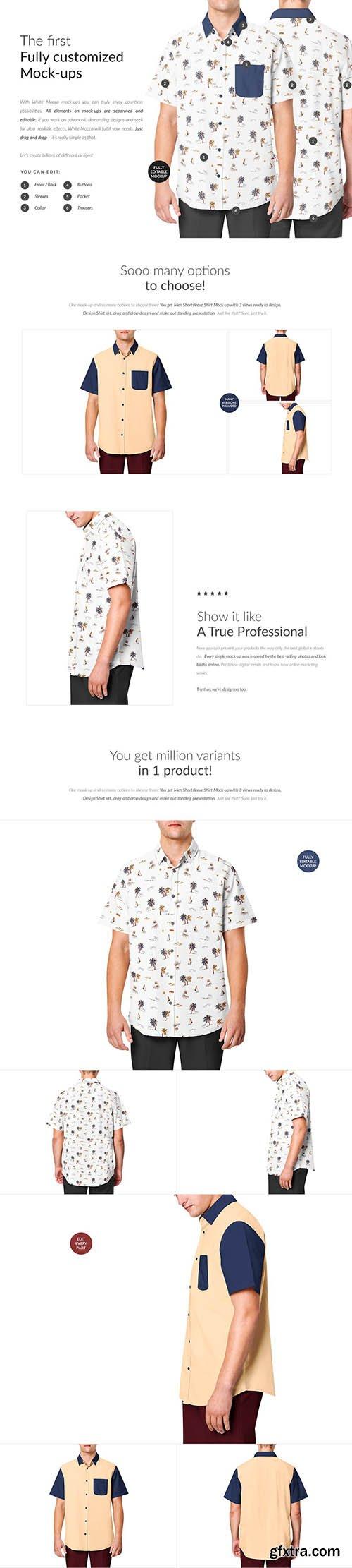 CreativeMarket - Men Shortsleeve Shirt Mock-ups 6411955