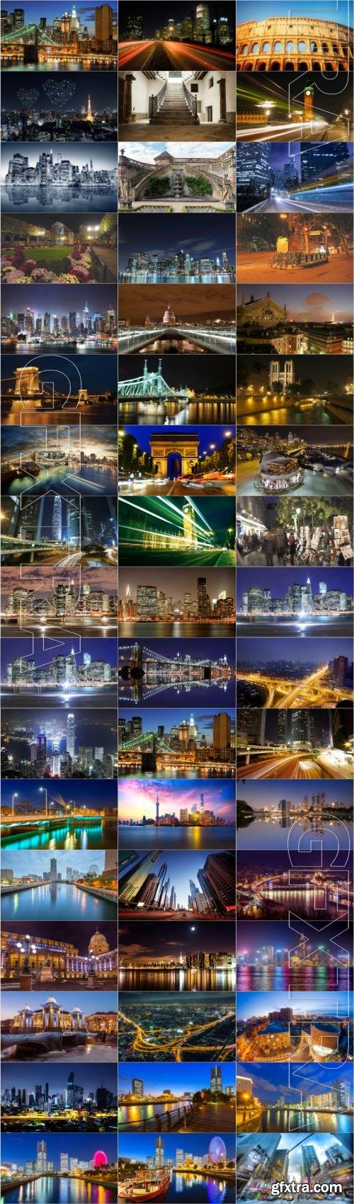 Cities night large selection of stock photos