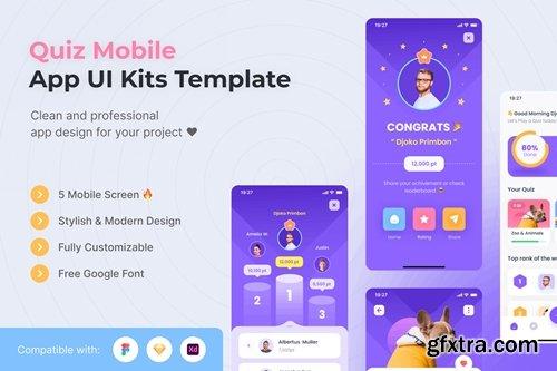 Quiz Mobile App UI Kits Template