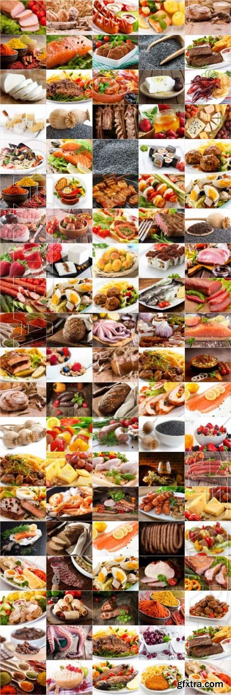 Food, meat, vegetables, fruits, fish, stock photo bundle vol 1