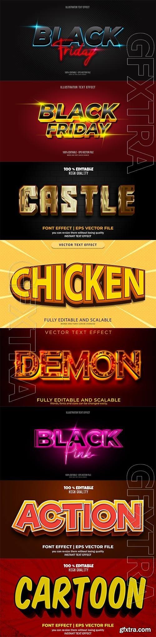 Set 3d editable text style effect vector vol 179