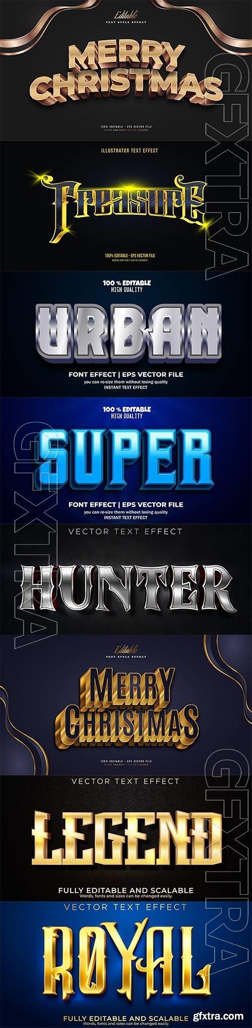 Set 3d editable text style effect vector vol 180