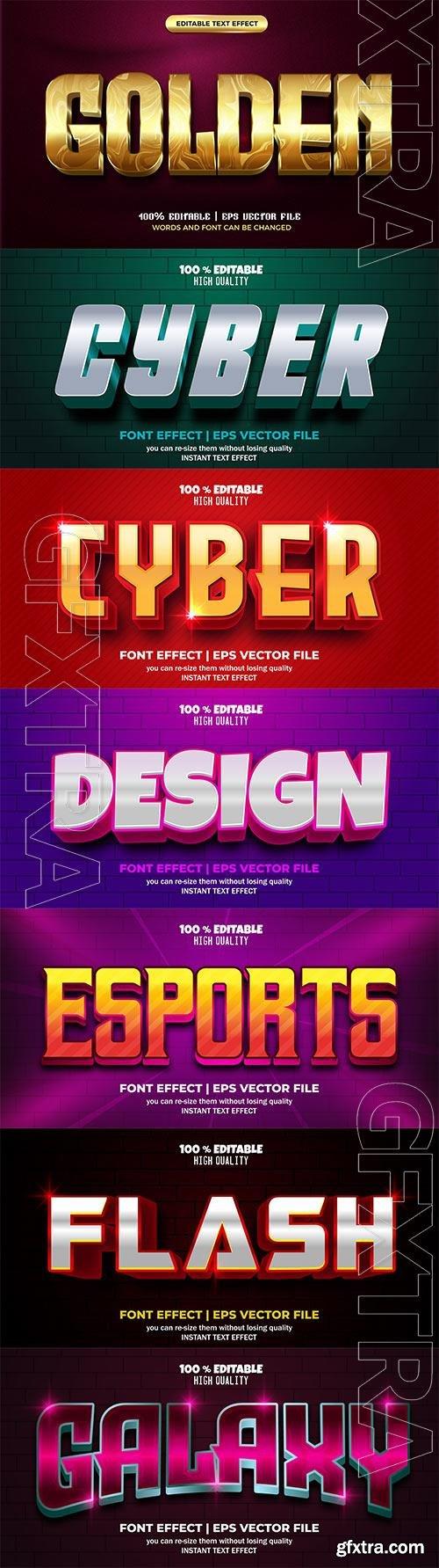 Set 3d editable text style effect vector vol 176