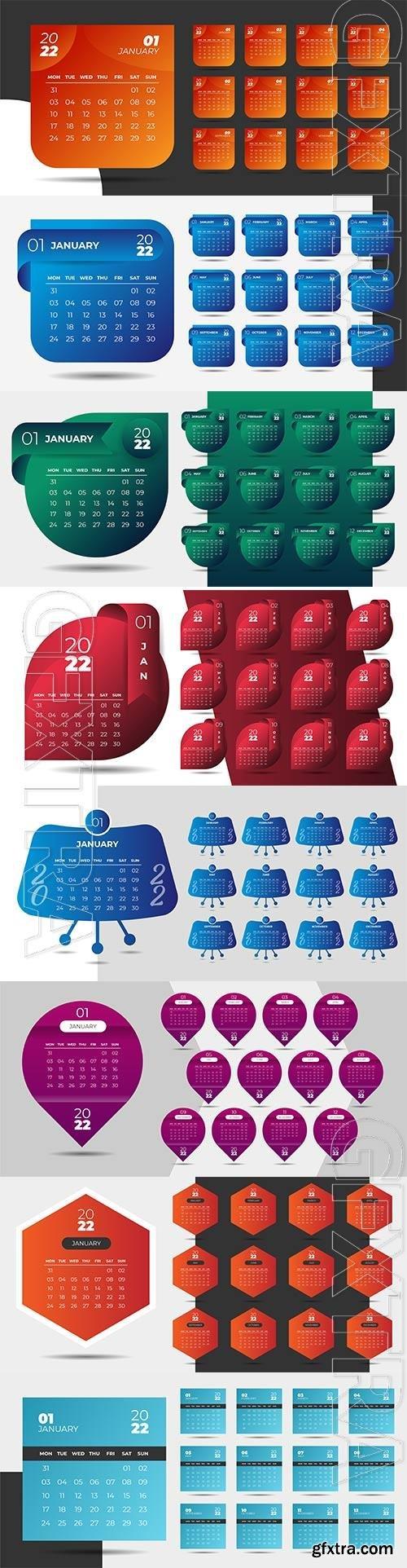Geometric style professional 2022 calendar design template premium vector
