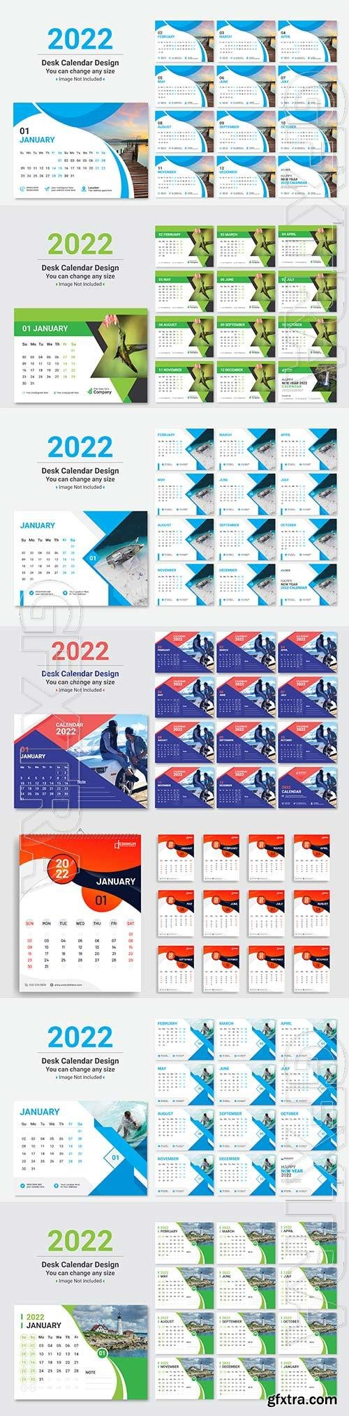 Modern new year 2022  calendar design premium vector