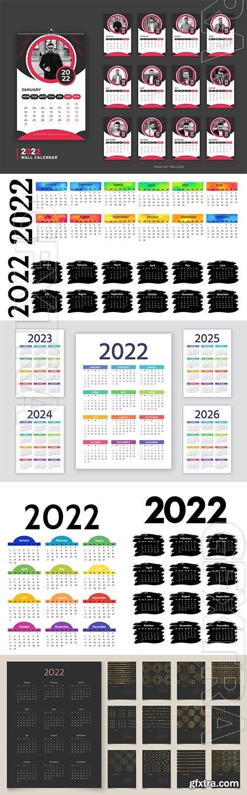 Calendar 2022 design template premium vector