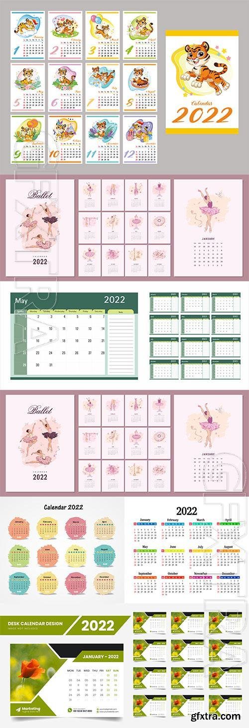 2022 vector calendar template design