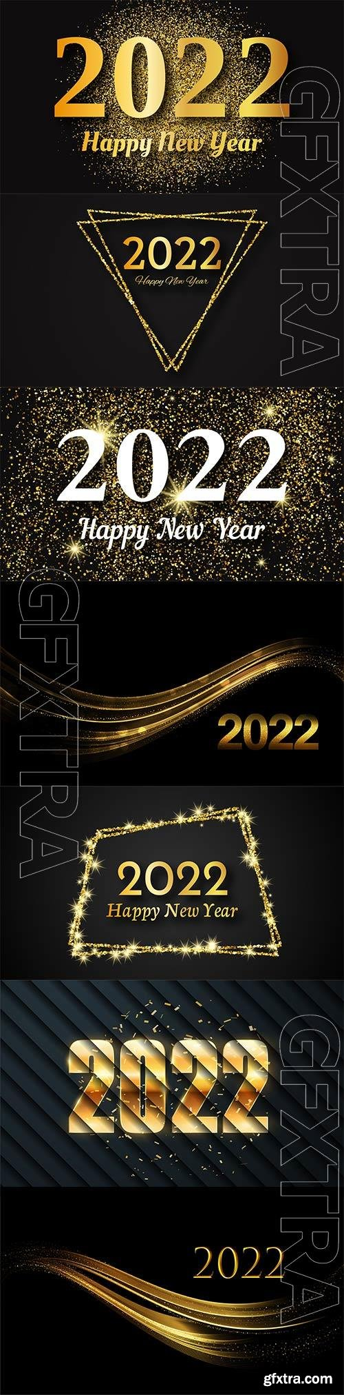 2022 happy new year vector background, gold inscription in a gold glitter