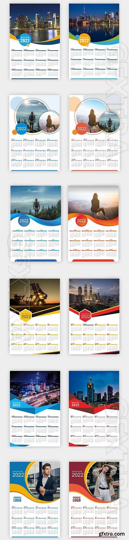 Calendar 2022 templates elegant premium vector