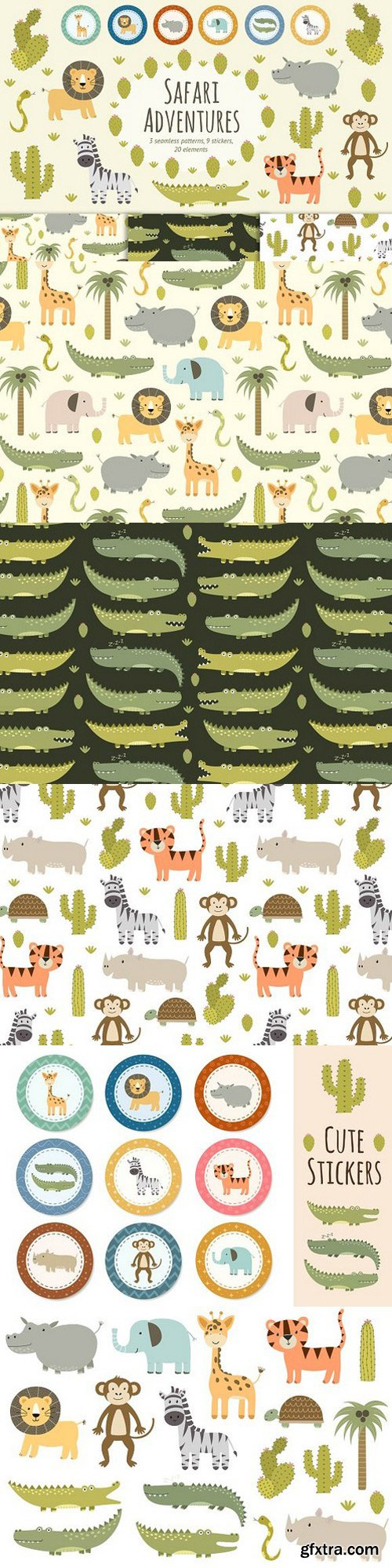 Safari animals patterns & stickers