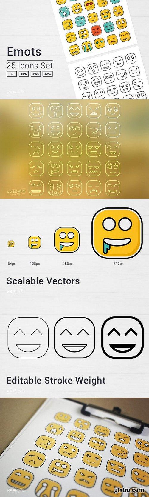 Square Emot Icons Set