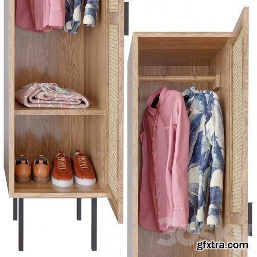 WASKA Wardrobe with hangers with 1 wicker door