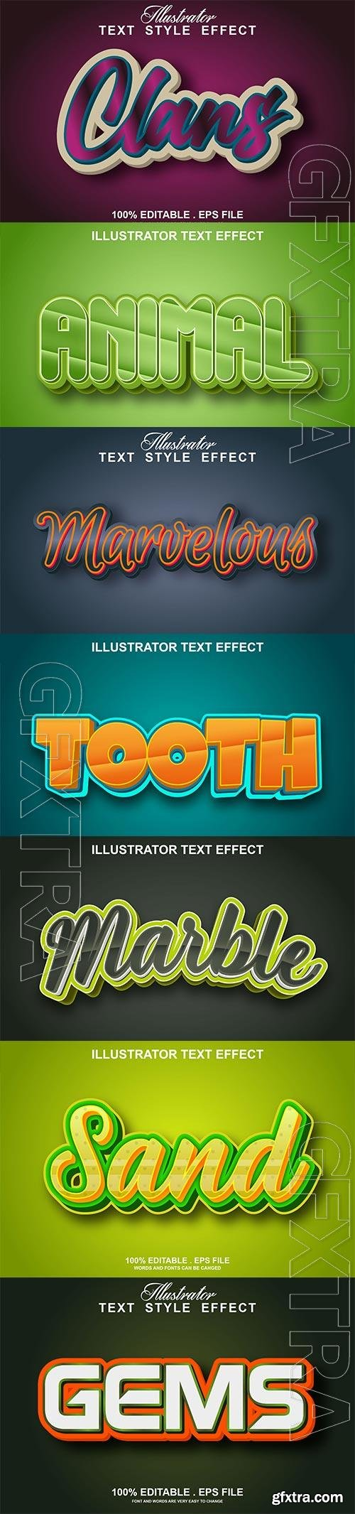 Set 3d editable text style effect vector vol 189