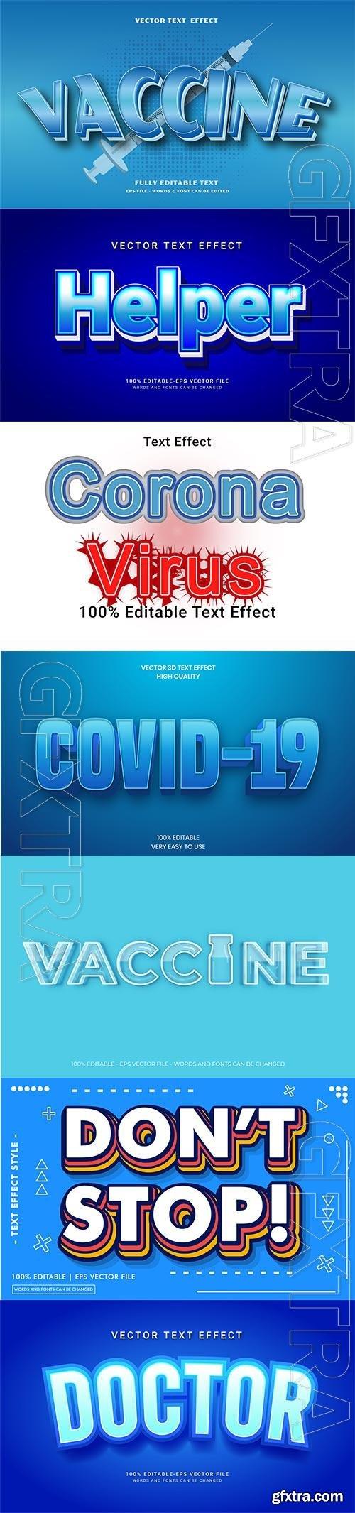 Coronavirus COVID-19, vaccine text style effect vector vol 191