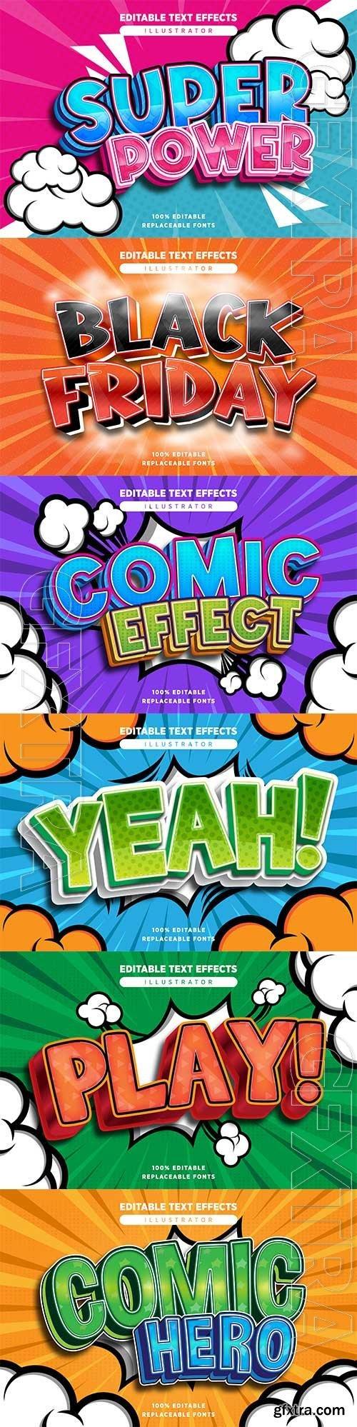 Comic style text effect editable in premium vector
