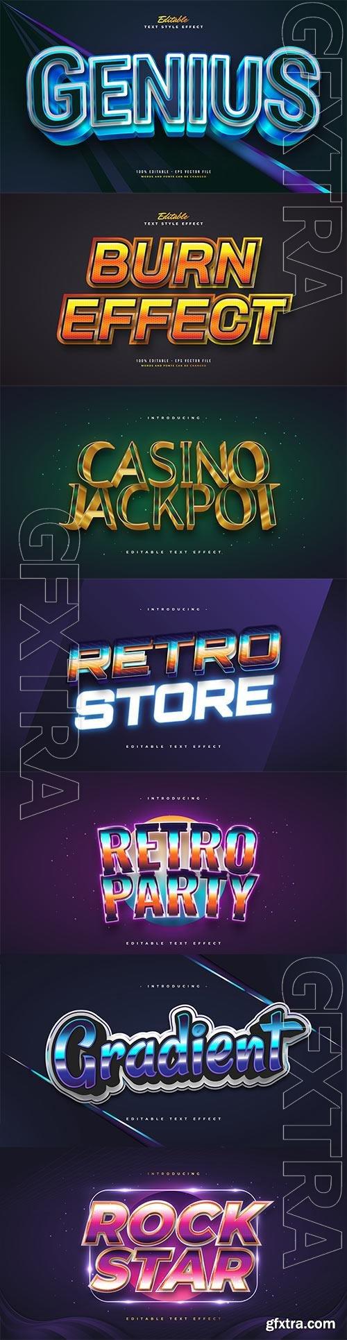 Set 3d editable text style effect vector vol 194