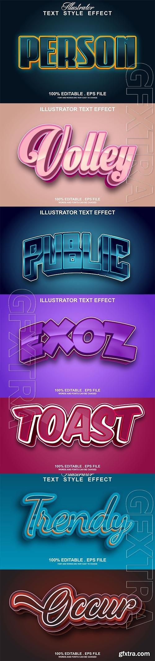 Set 3d editable text style effect vector vol 190