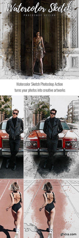 GraphicRiver - Watercolor Sketch Photoshop Action 33365580