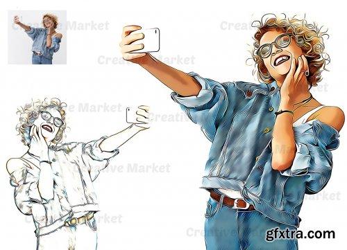 CreativeMarket - Cartoon Oil Effect PS Action 6490144