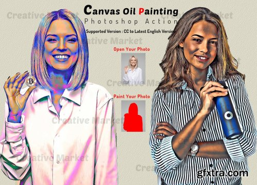 CreativeMarket - Canvas Oil Painting Photoshop Action 6481461