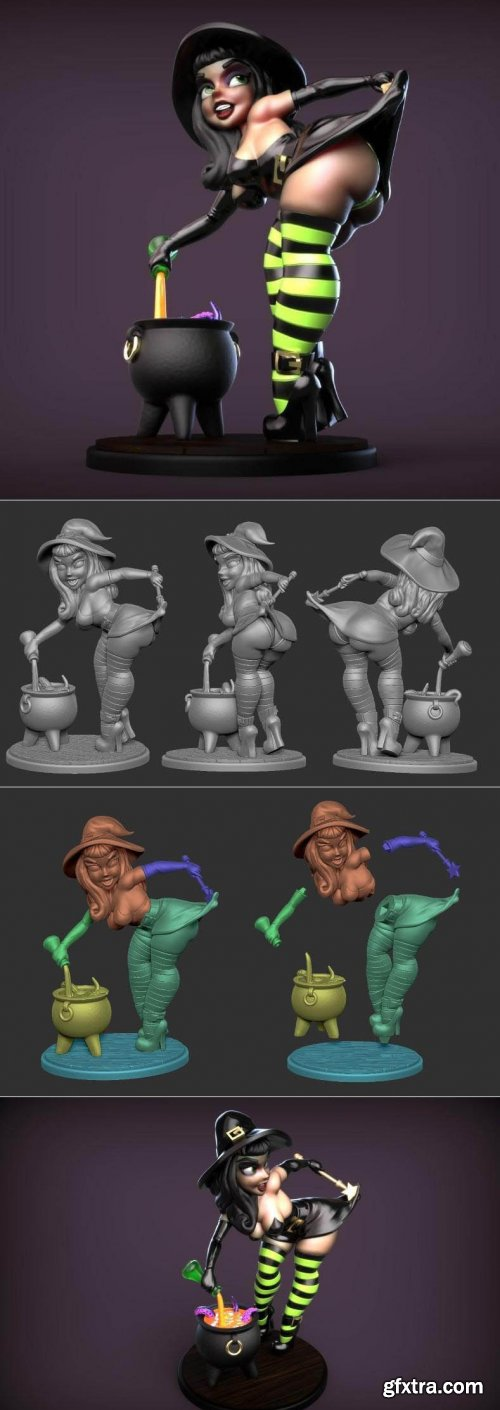 Witch Pinup – 3D Print Model