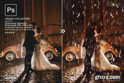 CreativeFabrica - Rain Overlay & Photoshop Overlay