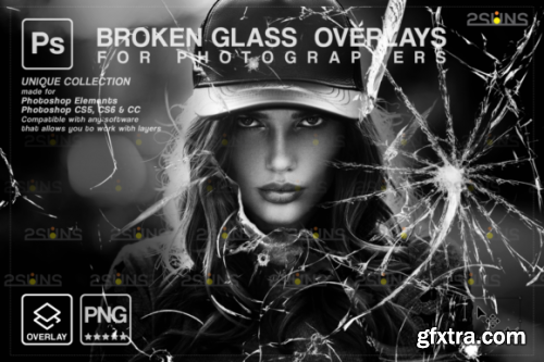 CreativeFabrica - Broken Glass Photoshop Overlay