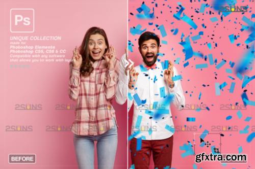 CreativeFabrica - Gender Reveal Confetti Overlay Photoshop 2