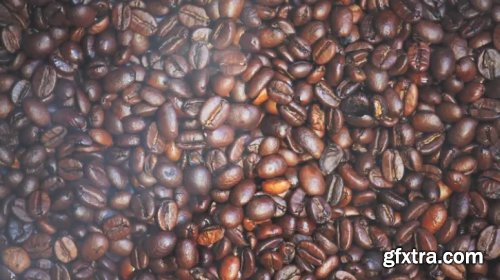 Coffee Beans Close-Up With Steam 912154