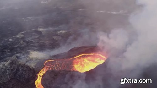 Top Down View Of Volcano Blowing 1019475