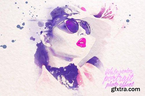 Watercolor portrait photo effect