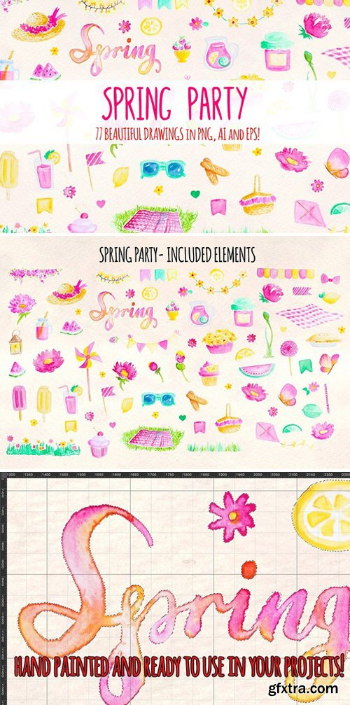 77 Spring Party Watercolor Elements