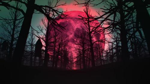 Videohive - Horror Forest In The Blood Moon Night - 34068492 - 34068492